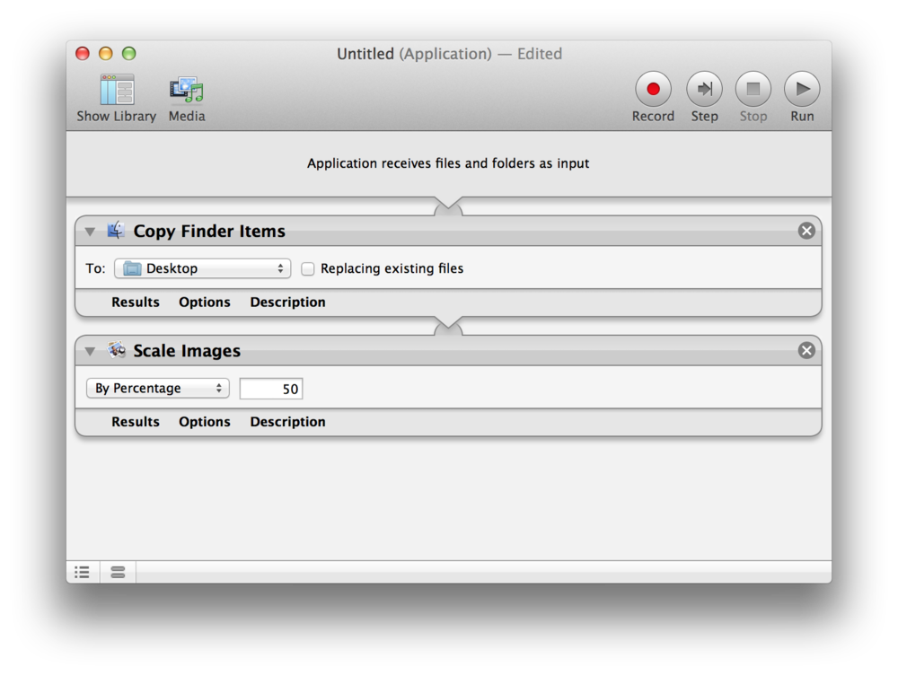 Automator actions for retina image downscaling