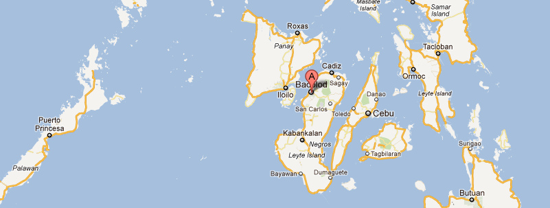 Location of Bacolod within the Visayas